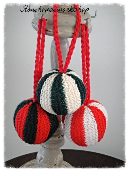Handknit ball ornament