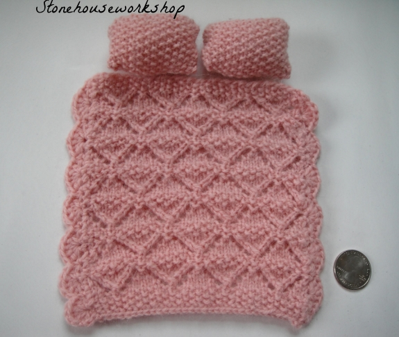 Hand knit dollhouse miniature bed blanket   Stone House Workshop
