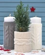 handknit candle cover