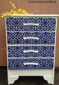 Dresser with Fabric Covered Drawers