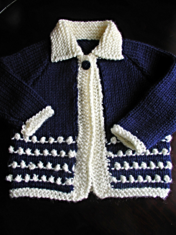 hand knit baby cardigan