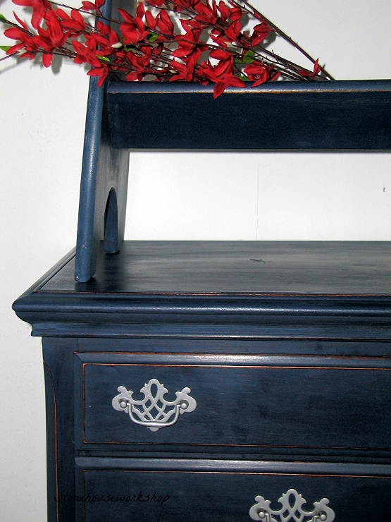 navy blue nightstand and side table stone house workshop. Black Bedroom Furniture Sets. Home Design Ideas